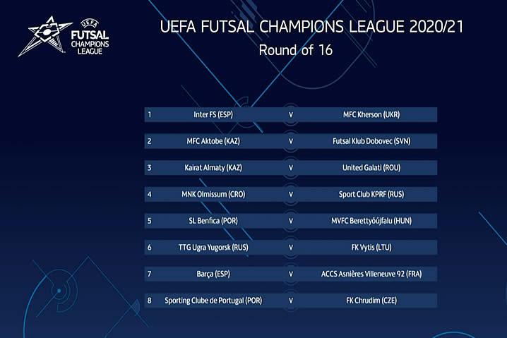 Sorteo ronda 16 UefA Futsal Champion League